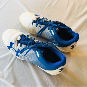 Under Armour Baseball Cleats White & Blue